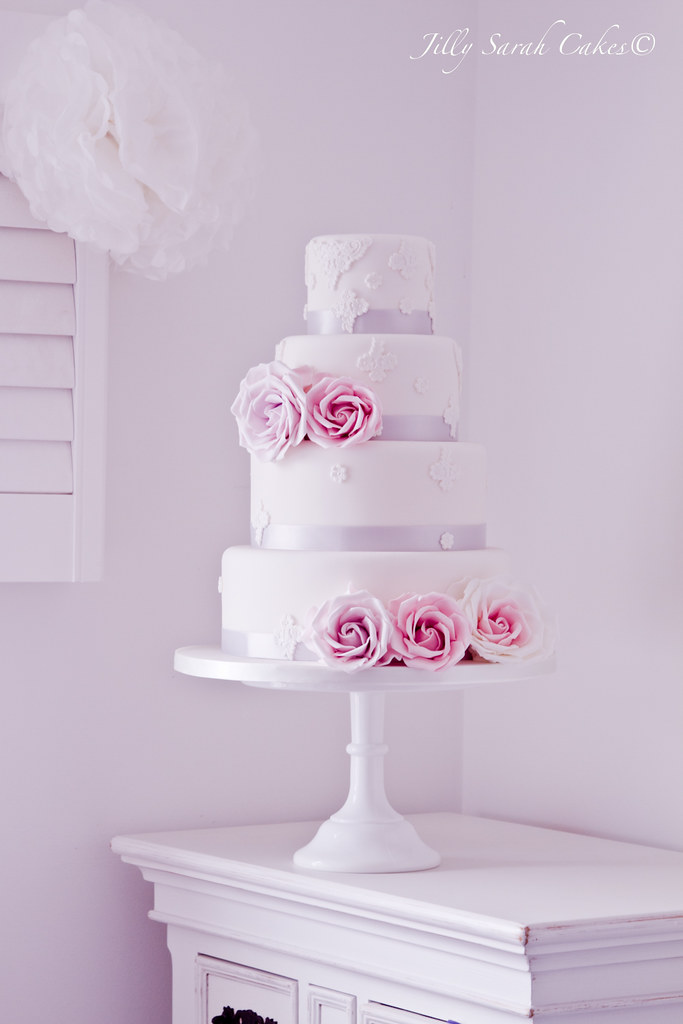 white silver and pink wedding cake white pink and silver and lace wedding cake new 27320