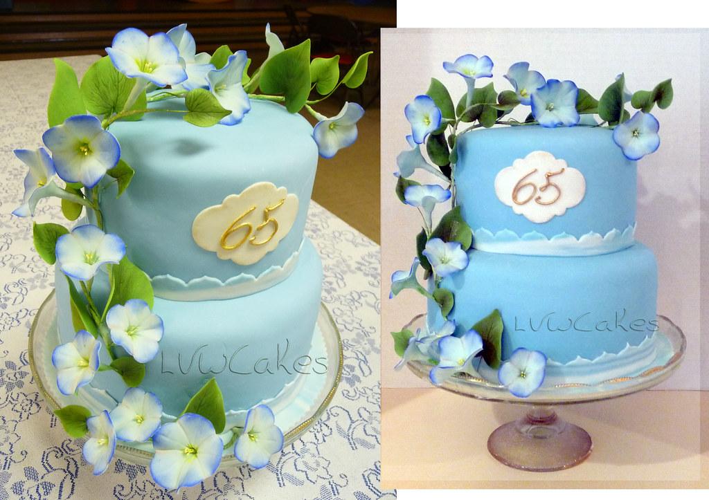 65th Wedding Anniversary Gift Ideas: 65th Wedding Anniversary Cake With Climbing Morning Glory
