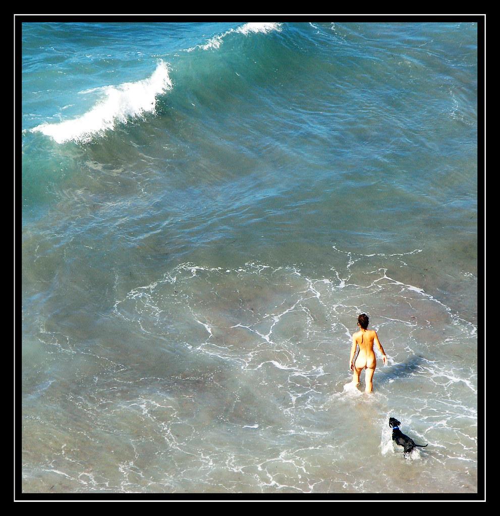 NAKED GIRL WITH DOG BEACH   Chica desnuda entrando en el