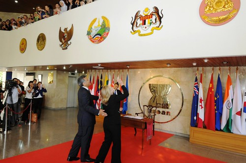Secretary Clinton Waves to the Staff at the ASEAN Secretariat | by U.S. Department of State