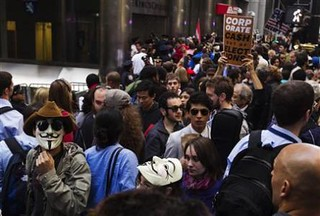 Occupy Wall Street demonstrators in the financial district of New York City. The demonstration attempted to block people from entering the banking district of Lower Manhattan. | by Pan-African News Wire File Photos