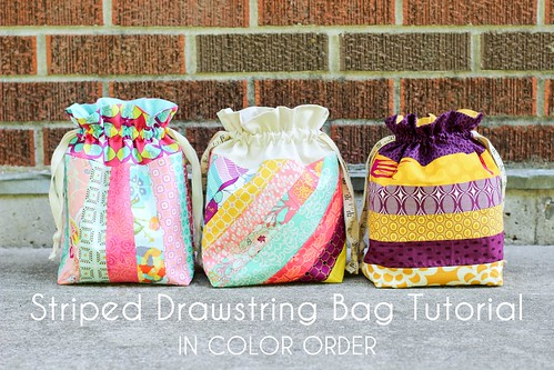 Striped Drawstring Bag Tutorial | by Jeni Baker