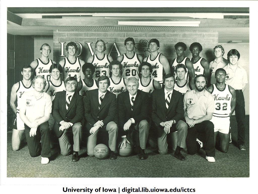 Basketball Team With Coach The University Of Iowa 1980