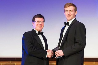 Nick Kay receiving an award from NPL's Martyn Sene | by National Physical Laboratory