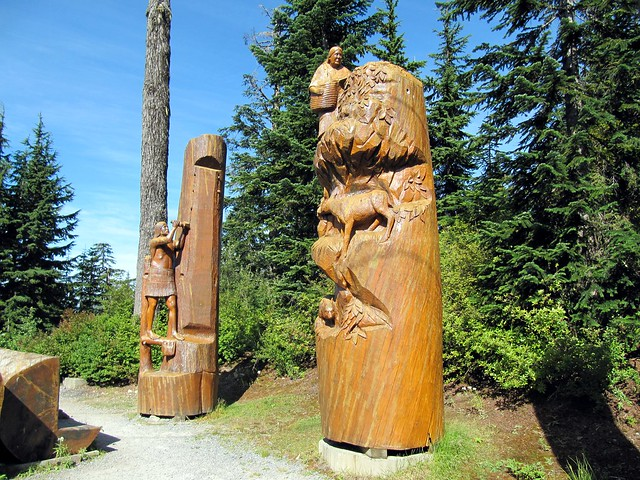 Wood carving sculptures grouse mountain north vancouver