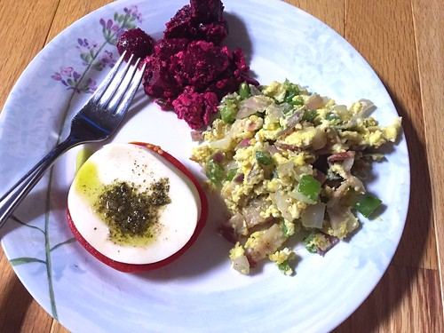 Loaded scrambled eggs with beet salad and caprese #naturallyglutenfree #gf #glutenfree | by freshcookingmeg