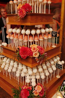 Orange Glitter Cake Pops on our Natural Wood Stand | by Sweet Lauren Cakes