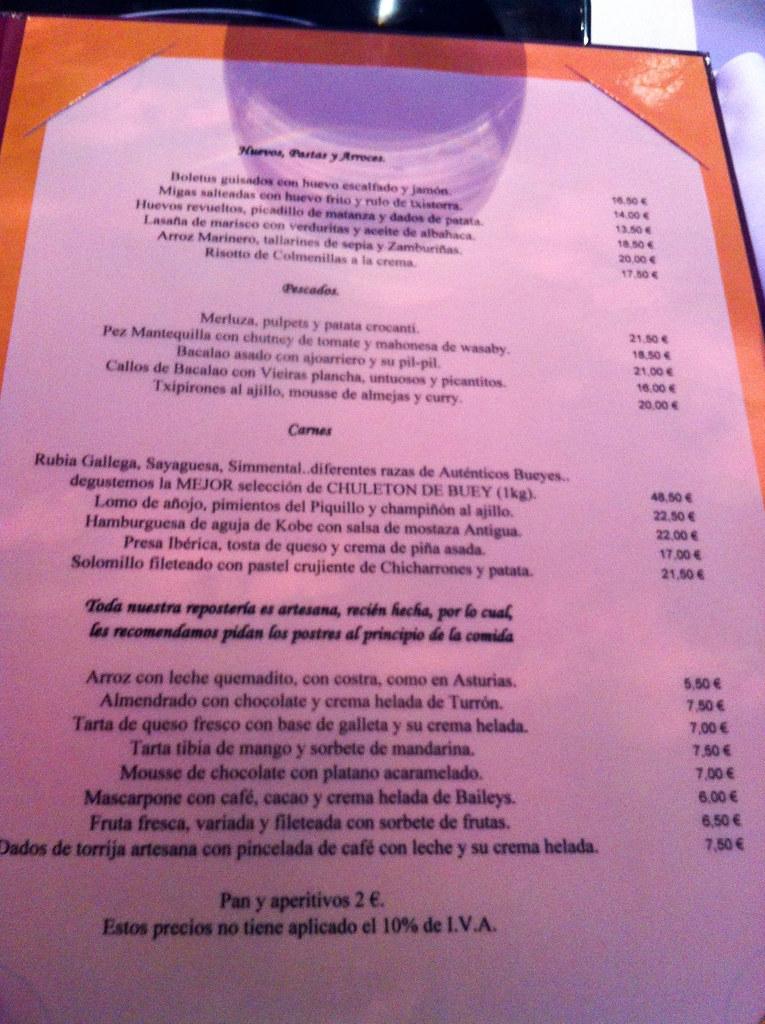Restaurante el cielo de urrechu pozuelo carta de - Restaurante el cielo alicante ...