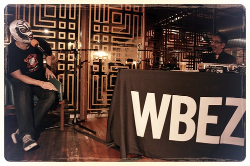 WBEZ's Tony Sarabia interviews Chicago Reader restaurant critic Mike Sula at Chef Battle Royale | by Louisa Chu