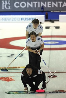 Penticon B.C.Jan10_2013.World Financial Group Curling.Team North America skip Heather Nedhoin,team World second Vicki Adams,lead Claire Hamilton.CCA/michael burns photo | by seasonofchampions