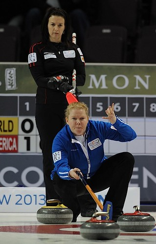 Penticton B.C.Jan11_2013.World Financial Group Continental Cup.Team World skip Margaretha Sigfridsson,Team North America skip Heather Nedhoin.CCA/michael burns photo | by seasonofchampions