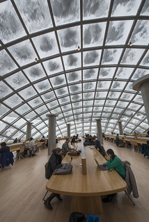 Students study under snow-dusted Mansueto Library dome | by University of Chicago Library