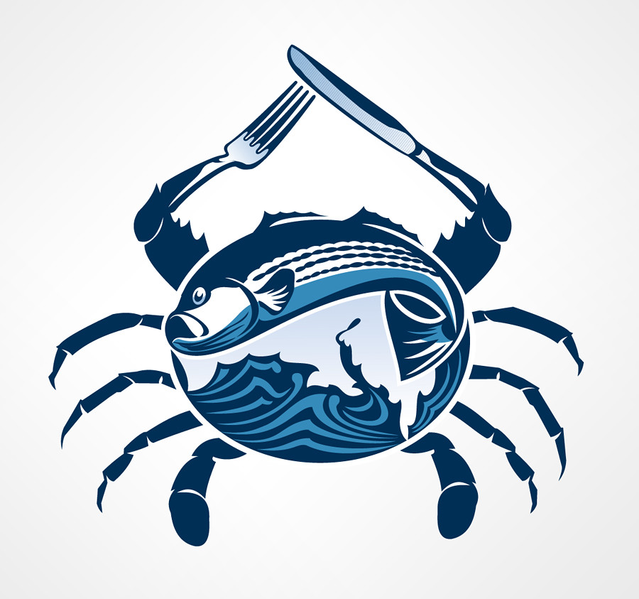 maryland seafood logo logo design incorporating the bay