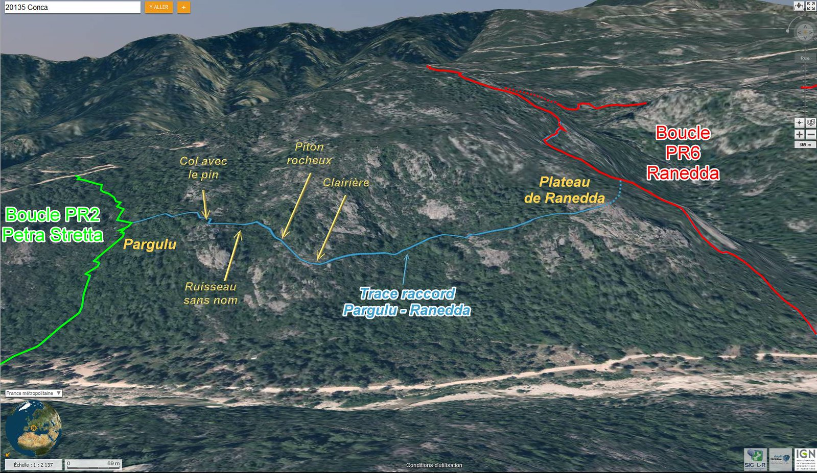 Photo aérienne 3D de la trace de raccordement entre Costa di u Pargulu (boucle Petra Stretta/PR2) et le plateau de Ranedda (proche de la boucle Ranedda/PR6)