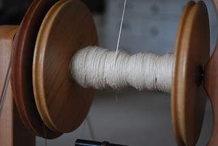 spinning hemp roving | by Herb Knitter
