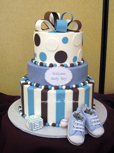 Blue And Brown Baby Shower Cake Grace Tari Flickr