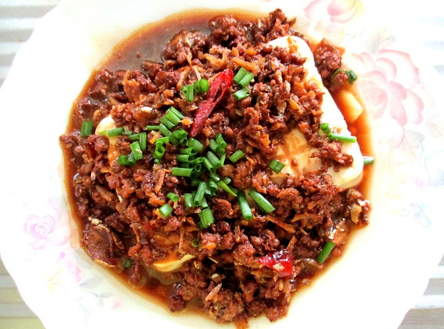 Tofu with minced meat & ikan bilis 1