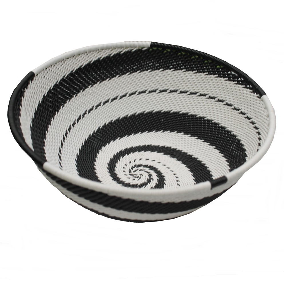 black and white telephone-wire basket | Zulu Wire Baskets | Ethical ...