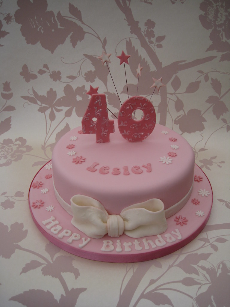 Pink 40th Birthday Cake Asked for something pink and girly Flickr