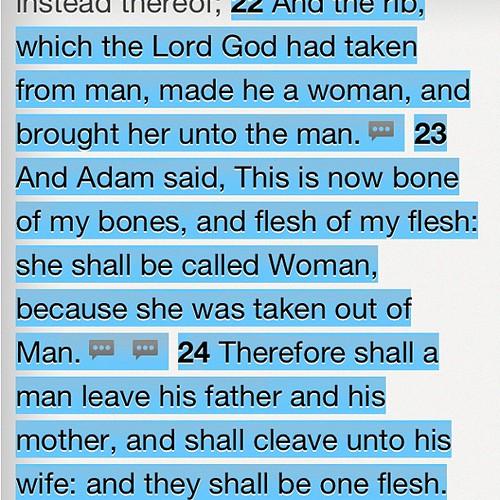 God Made Eve From Adams Rib. One Flesh. One Love #fav #ver