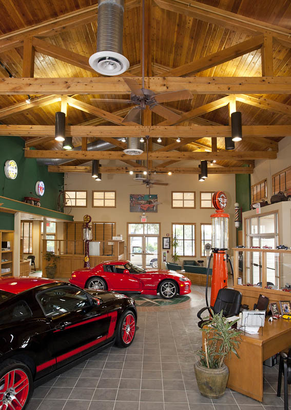 Timber Frame Trusses In Car Showroom From Texas Timber Fra