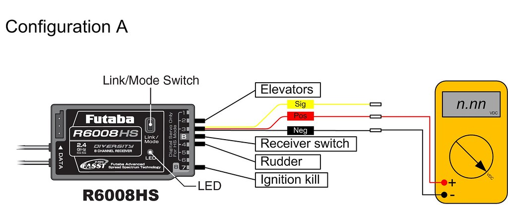 Futaba R6008HS receiver - test wiring - configuration A | Flickr on helicopter controls diagram, lipo battery wiring diagram, boat motor wiring diagram, hunter ceiling fan wiring diagram, radio control wiring diagram, t-rex diagram, rc heli 10s battery connection diagram, 2010 journey 2 4 wiring diagram, rc plane wiring diagram, rc car wiring diagram, hunter fan switch wiring diagram, servo wiring diagram, rc helicopter wiring diagram, building wiring diagram, airtronics wiring diagram,