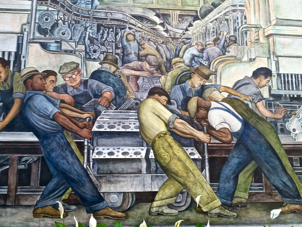 Detail detroit industry murals by diego rivera at the di for Detroit industry mural