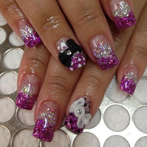 nailbarlounge: Day Bows #gel #acrylic #nails #glitter #pin ...