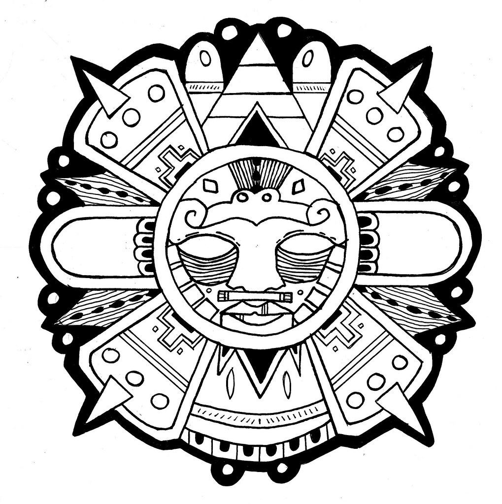 Line Work Design : Aztec sun line work design for part of a series