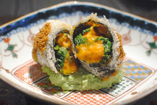 Premium Sea Urchin from Hokkaido in Lace Wrapping Deep Fried Rare with Edamame Beans Paste | by Darin Dines