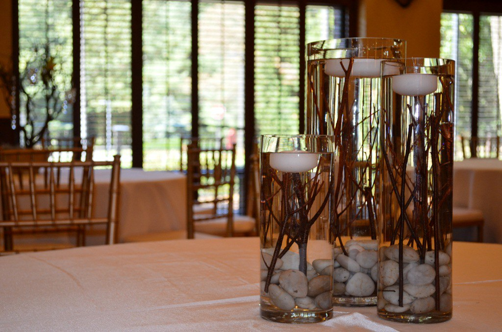 Rustic centerpieces with floating candles georgianne
