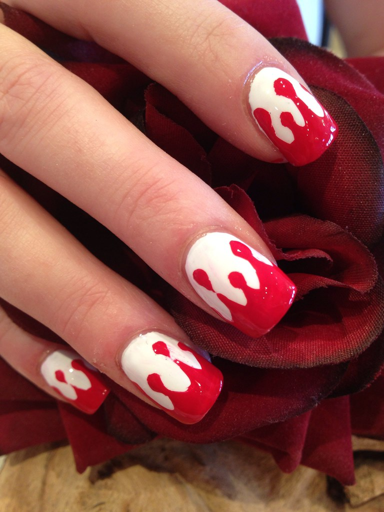 Red and white blood Halloween freehand nail art ...