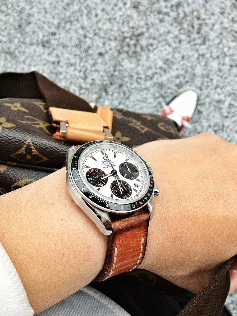 Omega Leather Watch Strap >> Omega Panda watch on tan bas and lokes handmade leather wa… | Flickr