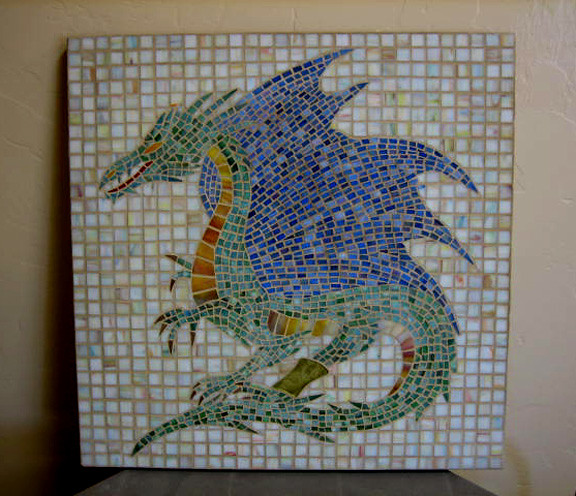 dragon mosaic dragon in mosaic made for our grandson for h flickr. Black Bedroom Furniture Sets. Home Design Ideas