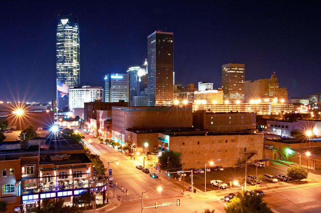 Oklahoma City Skyline From Bricktown At Night Greater