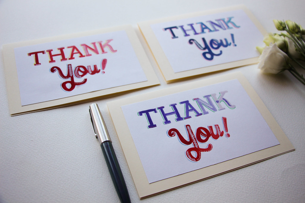 Thank you hand painted greeting cards, Etsy