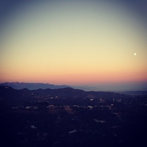 View of the (almost) Harvest Moon, Observatory and Hollywood Sign from Runyon | by julie.anna