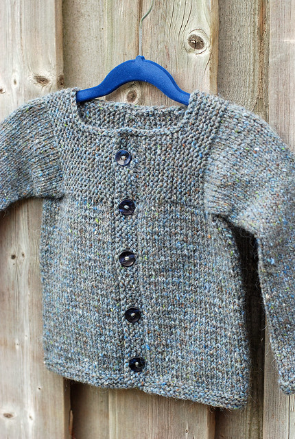 Handknit child-sized Muddy Duck Pond cardigan by irieknit