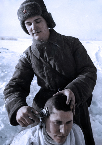 soviet soldiers a haircutww2 colorized using