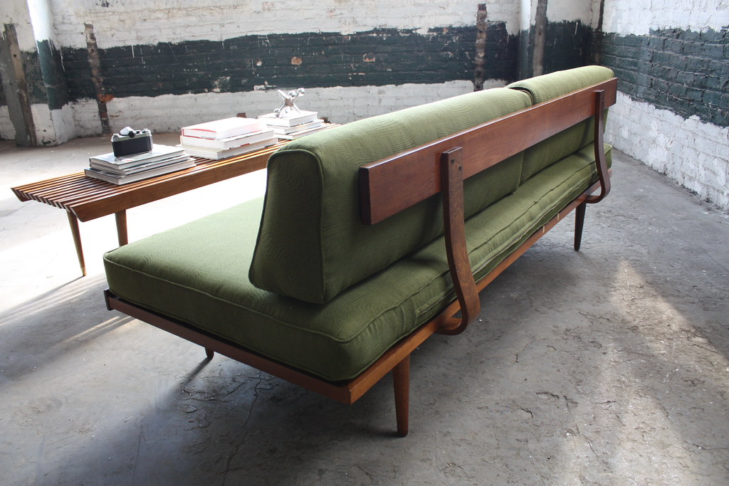 Classic danish mid century modern walnut daybed sofa u s for Mid century modern day bed