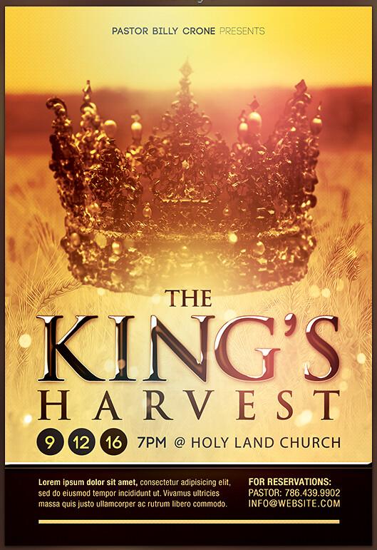 the kings harvest gospel concert flyer template preview