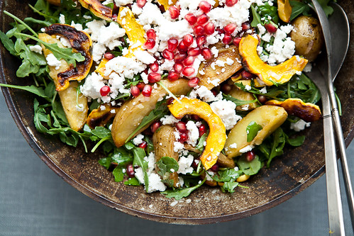 Delicata Squash Salad with Roasted Potatoes and Pomegranate Seeds | by continental drift
