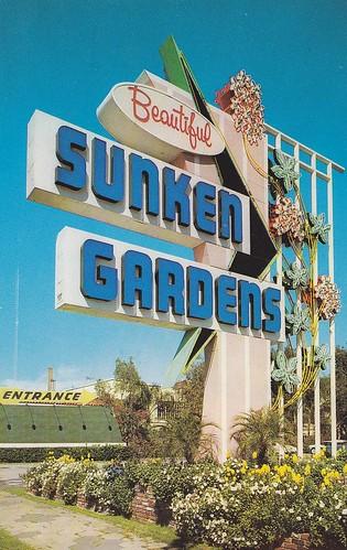 Sunken Gardens Sign Florida Back Of Postcard Reads Sunken Flickr
