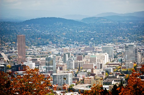 Views from Pittock Mansion grounds, downtown Portland | by David McSpadden