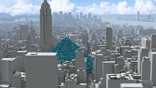 A single hour of New York City's carbon dioxide emissions, as one-tonne spheres. | by Carbon Visuals
