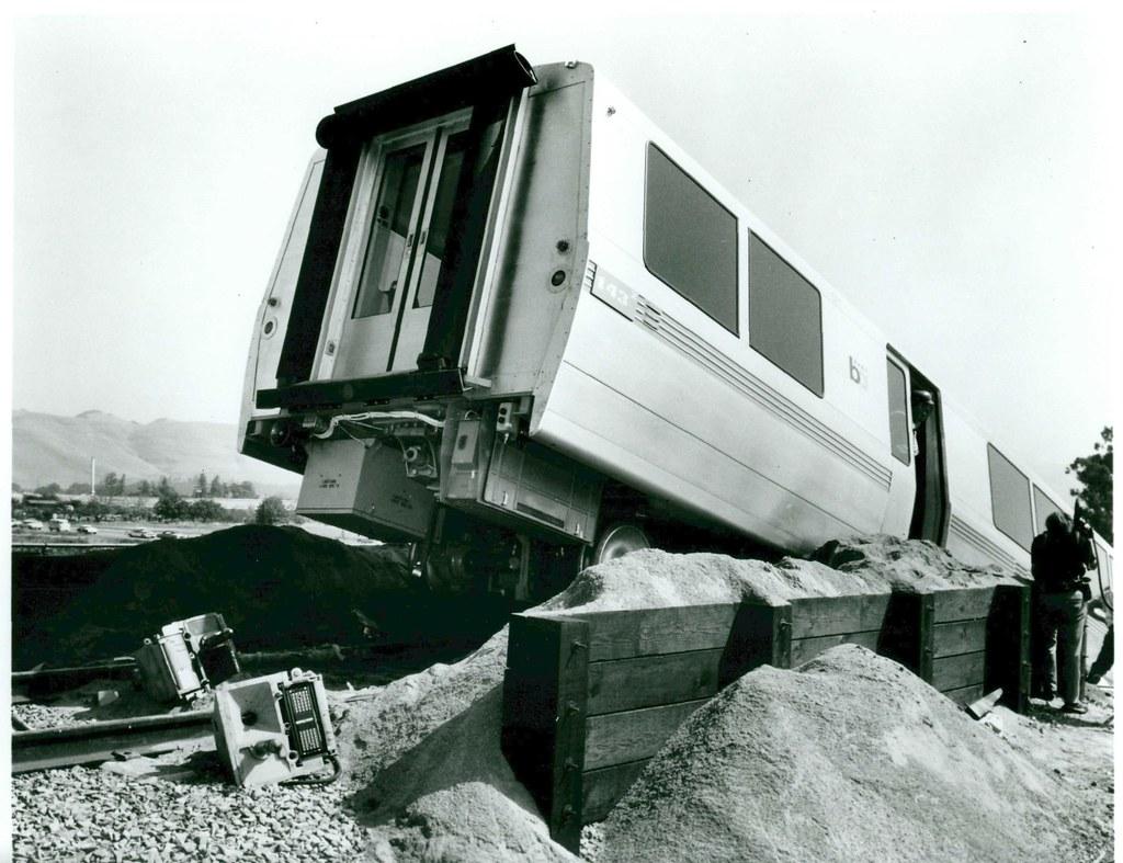 derailed bart train  1972