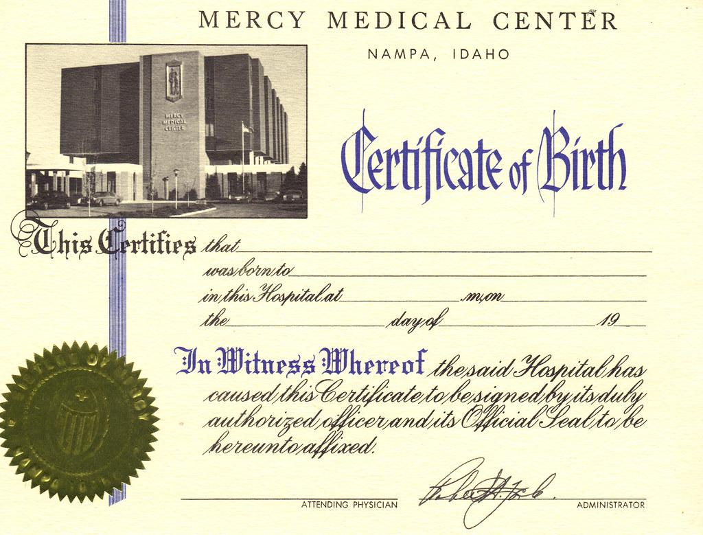 Mercy medical center certificate of birth nampa idaho flickr xflitez Gallery