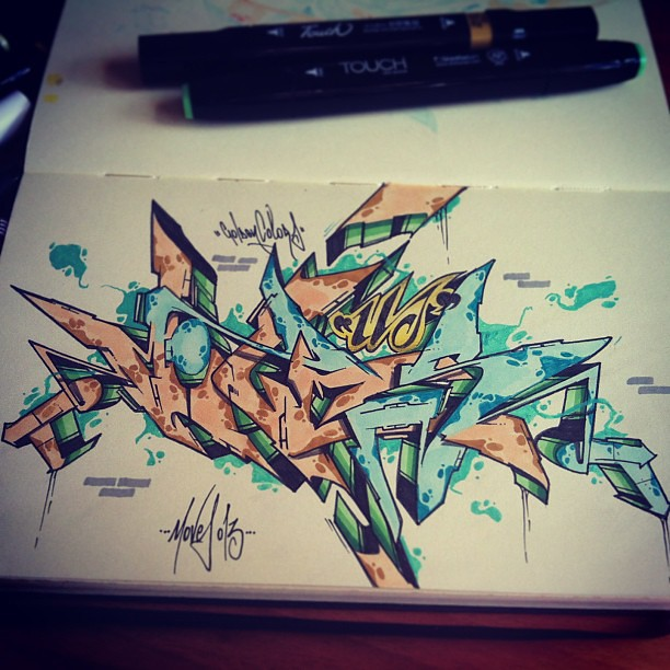Golden Colors by ATEW ONE #graffiti #style #sketch #wildst ...