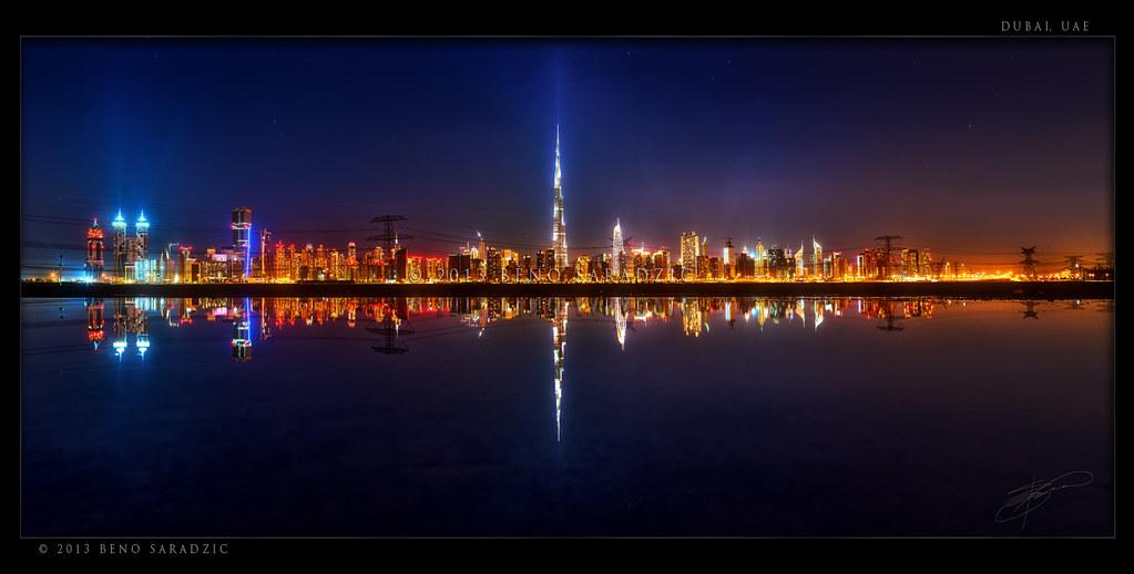 Dubai Panorama Reflected I Posted A Similar Shot Few