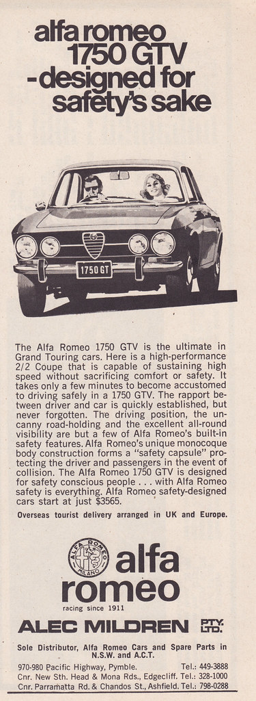 1971 alfa romeo 1750 gtv ad - australia | covers the 1971 al… | flickr